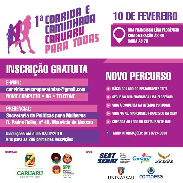 1ª Corrida e Caminhada Caruaru para Todas será realizada pela prefeitura domingo (10)