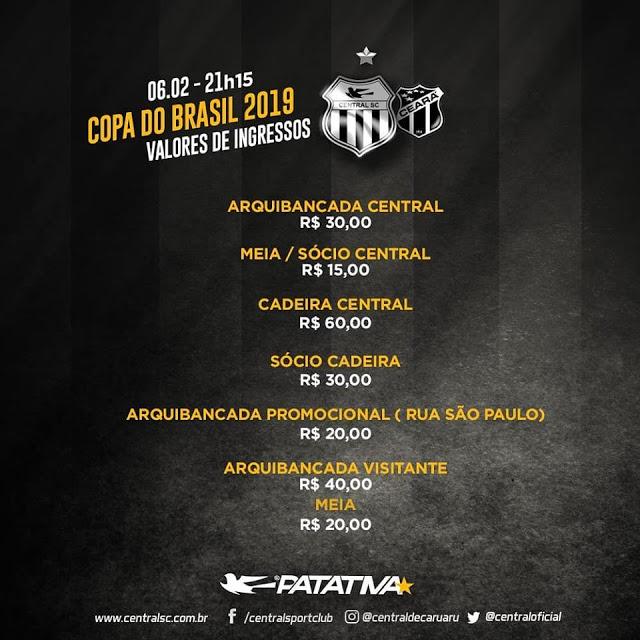 Central enfrenta o Ceará em Caruaru pela Copa do Brasil nesta quarta (6)