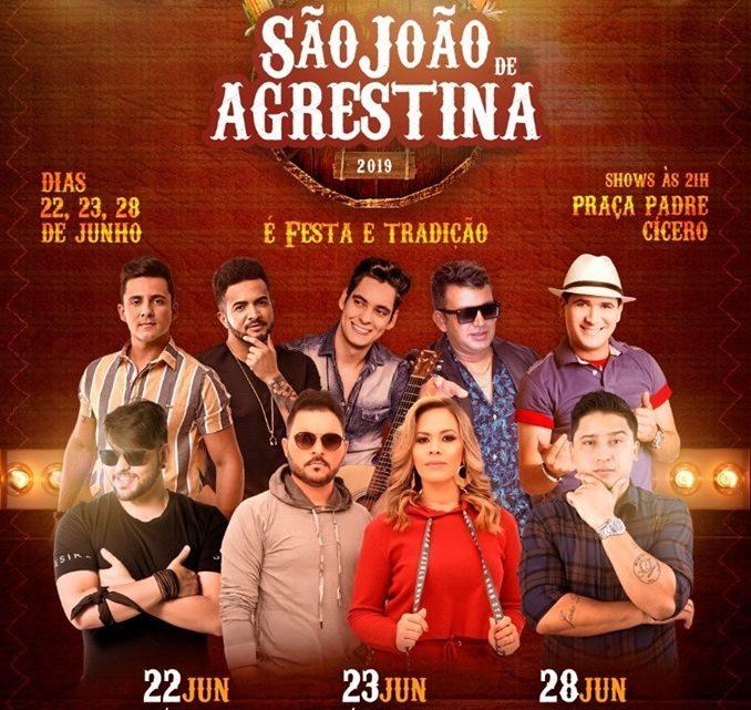 Confira a programação do São João de Agrestina 2019