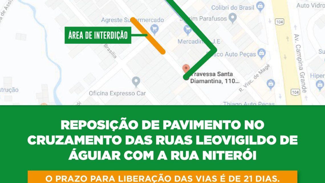 Ruas no bairro Divinópolis serão interditadas para reposição de calçamento