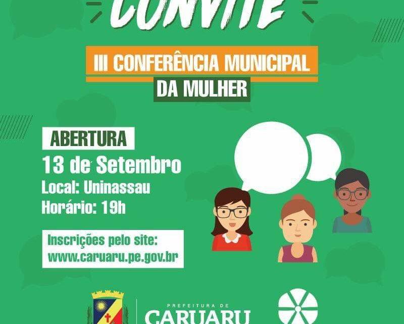 III Conferência Municipal de Políticas Públicas para as Mulheres sexta (13) e sábado (14)