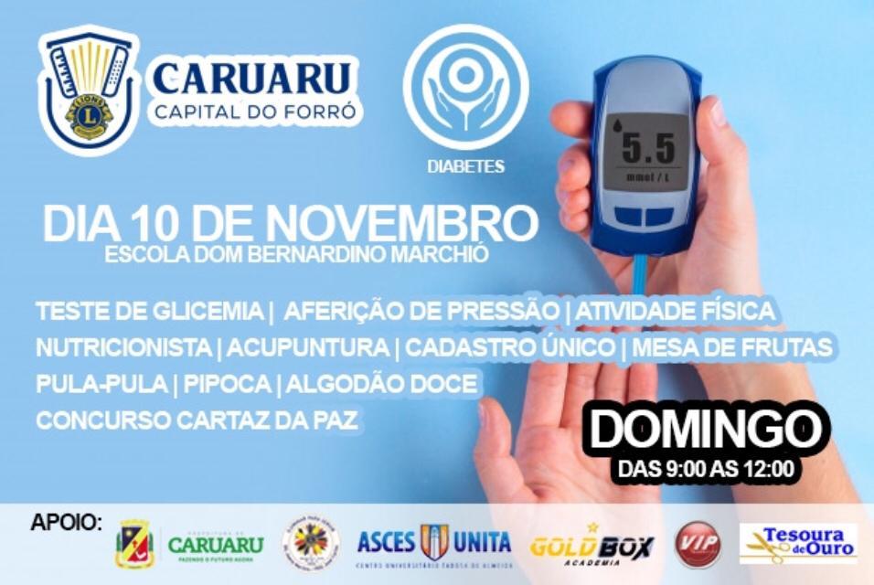 Dia 'D' de Conscientização sobre o Diabetes será realizado pelo Lions Clube Caruaru Capital do Forró neste domingo (10)