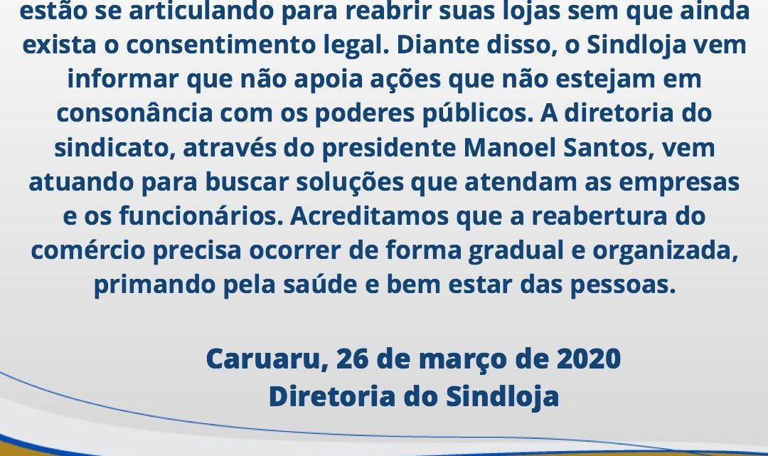 Empresários querem reabrir lojas em Caruaru e Sindloja não apoia ações sem consonância com os poderes públicos