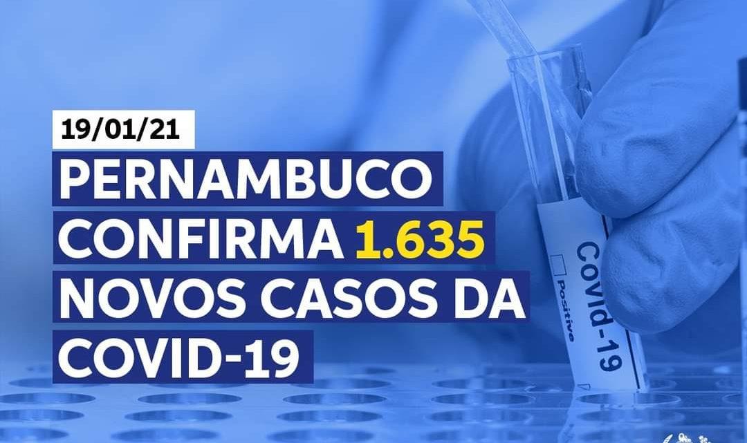 Pernambuco registra 1.635 novos casos de Covid-19 e mais 28 mortes