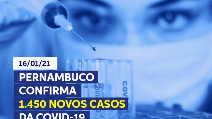 Pernambuco registra 1.450 novos casos de covid-19 e 29 mortes