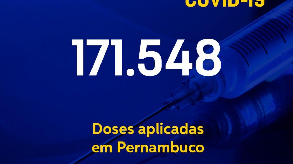 Mais de 171 mil doses de vacina contra covid-19 aplicadas e mais de 228 mil recuperados do vírus em Pernambuco