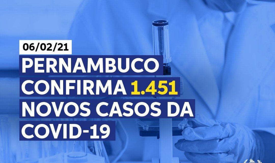 Secretaria de Saúde-PE registra 1.451 novos casos de covid-19