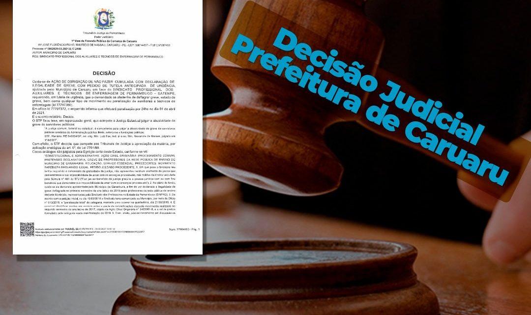 Decisão judicial impede a enfermagem de nível médio de Caruaru paralisar suas atividades