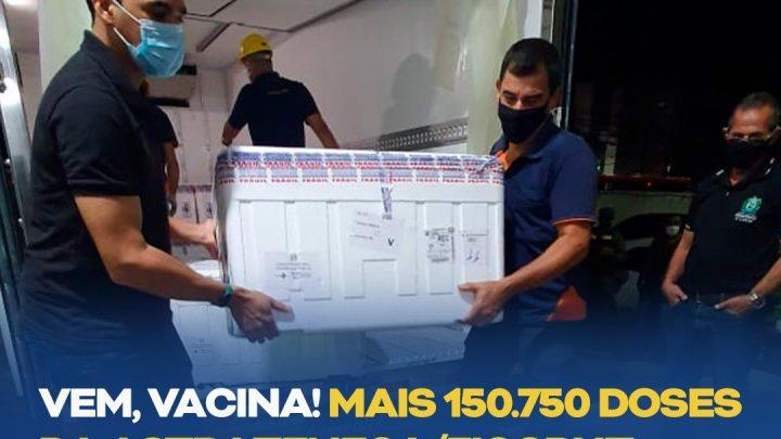 Mais 150.750 doses da Astrazeneca/Fiocruz chegam a Pernambuco; Confira o boletim da covid-19