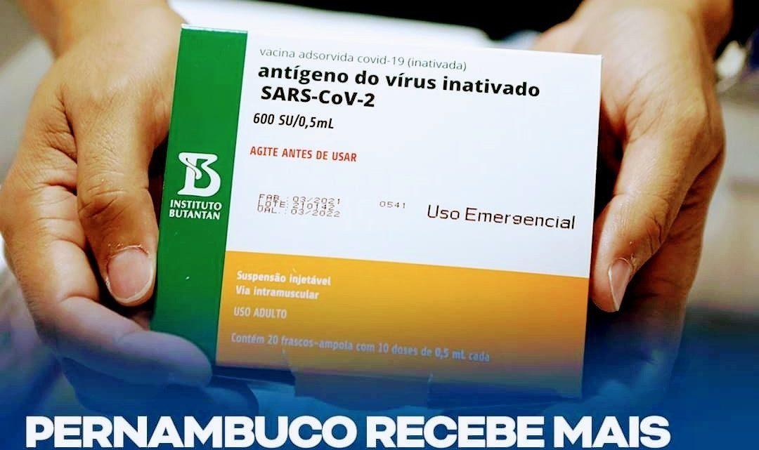 Pernambuco recebe mais 52.600 doses da Coronavac nesta quarta-feira (4)